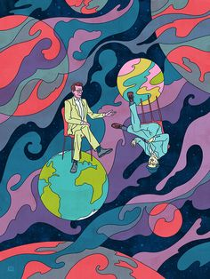An Astrobiologist Asks a Scifi Novelist How to Survive the Anthropocene by David Grinspoon Illustration by Kyle T Webster KyleTWebster nautilusmag illustration anthropology turbulence planets is par - Art Sketches, Art Drawings, Arte Indie, Hippie Art, Dope Art, Pics Art, Psychedelic Art, Aesthetic Art, Collage Art