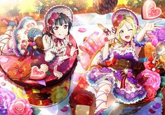 - You are in the r - Saint Valentin Anime Love, Mari Ohara, Valentines Surprise, Valentine Ideas, Blue Hair Bows, Flower Headdress, Idol, Live Picture, Image Manga