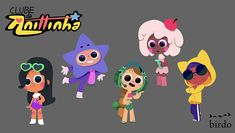 """Characters from the series """"Clube da Anittinha"""", by Birdo Studio. See more art . Character Design Cartoon, Cartoon Design, Character Design References, Anna Cattish, Mickey Mouse, Wall E, Thundercats, Character Concept, Character Art"""