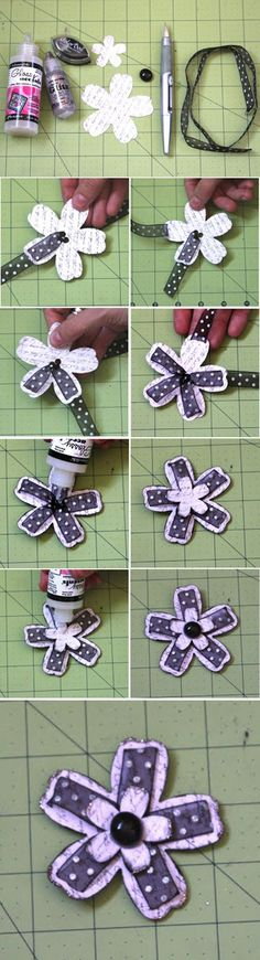 Cheap and Easy DIY Scrapbook Ideas for Girls | Woven Flower by DIY Ready at http://diyready.com/cool-scrapbook-ideas-you-should-make/: