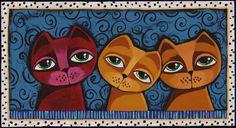 Folk primitive Cats painting original art GOSHRIN by GOSHRIN