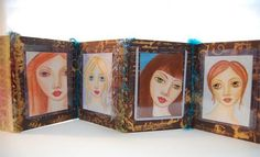 Open the book to reveal a variety of faces! Created by Zinnia Accordion Book, Mixed Media Painting, Zinnias, Create, Rose, Projects, Faces, Study, Journal