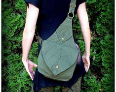 Leaf Bag Purse Messenger School Book Bag by TalismanaDesigns