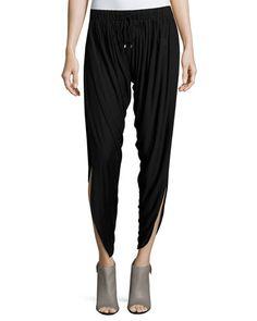 TAZWH Haute Hippie Slit-Hem Drawstring Harem Pants, Black