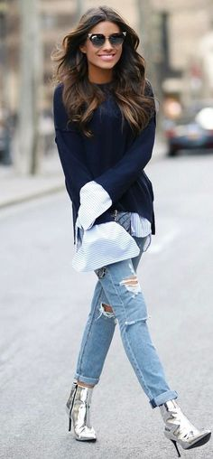 The most gorgeous and simple street style ideas that are perfect for every girl Outfit Jeans, Lässigen Jeans, Booties Outfit, Look Fashion, Fashion Outfits, Fashion Trends, October Fashion, Silver Boots, Metallic Boots