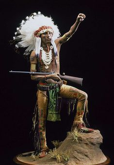Full length color image of Sioux Warrior, by George Stuart.