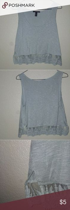 Forever 21 Lace Bottom Tank Size - WOMEN'S L 19 in. From pit to pit.  Color - Eggshell Blue Details - Lace Bottom Wear - NWOT / NEVER WORN Forever 21 Tops Tank Tops