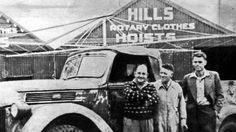 Lance Hill (left) at his Hills Hoist factory in Adelaide in South Australia in 1946.