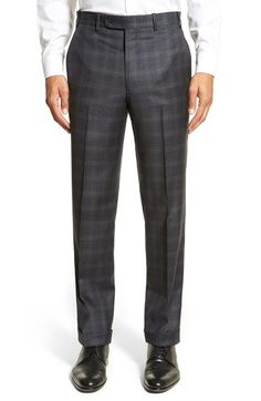 Di Milano Uomo Flat Front Plaid Wool Trousers