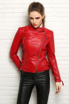 Aliexpress.com: Acheter Usine femmes vestes en cuir véritable peau de mouton marque Slim court rouge couleur Bomber Biker moto printemps automne taille 3XL ZH049 de boléro fiable fournisseurs sur FASWAY LEATHER FACTORY