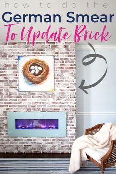 DIY german smear tutorial | brick mortar wash how to: THIS DOESN'T SOUND TOO HARD! Love the look for whitewash brick!! Lovely idea for a brick fireplace. from heatherednest.com #germansmear #mortarwash #whitewashing #updatebrick #brickupdate #howtoupdatebrick #howtowhitewashbrick #howtomortarwashbrick #howtogermansmearbrick #howtoupdateafireplace Brick Fireplace Remodel, Brick Fireplace Makeover, Diy Fireplace, Brick Fireplaces, Mantle, Fireplace Whitewash, Fireplace Fronts, Fireplace Seating, Fireplace Update
