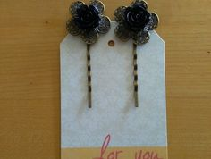 Black Rose on Antique Bronze Flower Bobbypins Nespresso, Hair Accessories, Bronze, Antiques, Mini, Flowers, Beauty, Black, Antiquities