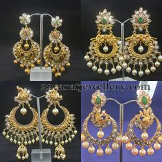 Jewellery Designs: Pachi Chandbalis with Peacocks Gold Diamond Earrings, Big Earrings, Gold Bangles, Gemstone Earrings, Gold Necklaces, India Jewelry, Temple Jewellery, Gold Jewelry, Jewelery