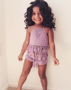 cute crochet outfit for girls Little Girl Fashion, Toddler Fashion, Kids Fashion, Kid Swag, Baby Swag, Baby Kind, My Baby Girl, Outfits Niños, Kids Outfits