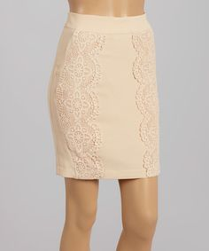 Look at this #zulilyfind! Ivory Crochet Pencil Skirt - Women by BLVD #zulilyfinds