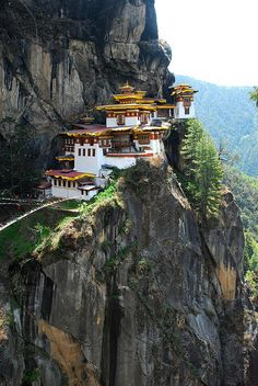 Taktsang (Tiger's Nest) Monastery in Paro Valley, Bhutan. It was built in the 17th century. Tigers still prowl the surrounding mountains.