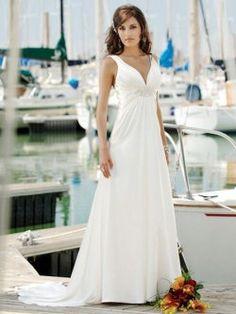 Bianco scollo a v abiti da sposa bordare semplici