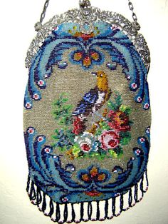 Lovely micro bead, bird purse. Barbara Jones Collection.