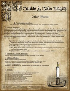 Candles: #Candle & #Color #Magick ~ White.  ✯ Visit lifespiritssocietyofmagick.com for love spells, wealth and prosperity spells, healing spells, beauty spells,  Wiccan, Voodoo, Hoodoo, root worker and LOA info.