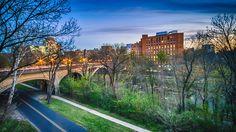 Bridge In the Park - Washington street bridge , located above the Brandywine creek in Wilmington Delaware.