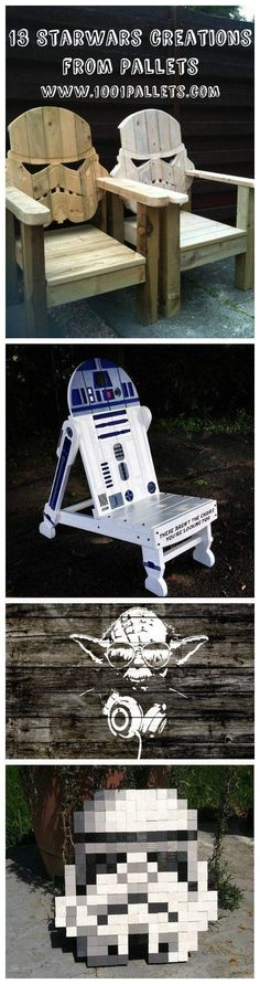"""Star Wars fans all over the world went recently wild while waiting for the release of the new movie, """"The Force Awakens."""" The pallet crafters also pay trib #artprojects"""
