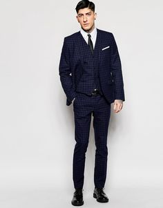 Image 1 ofHeart & Dagger Navy Tonal Check Suit in Super Skinny Fit