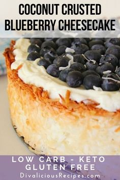 This coconut and blueberry cheesecake has a crust that is made with coconut instead of a low carb flour or biscuit. Low Carb Sweets, Low Carb Desserts, Low Carb Recipes, Dessert Recipes, No Bake Blueberry Cheesecake, Low Carb Cheesecake Recipe, Diabetic Cheesecake, Ricotta Cheesecake, Diet Cake