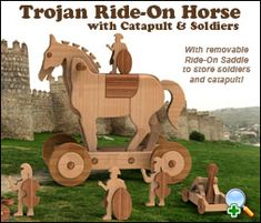 "Plan Set Description: This Cherished Heirloom Toy doubles as a Ride-On Toy and Creative Play Set with Soldiers, Catapult and Ladder. Ride-On Horse is 19"" L x 18"" H x 11"" W. Color 8-1/2"" x 11"" pages with black & white pattern pages."