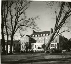Cutting down McGuffey Elms on College Green, late 1950s. The McGuffey Elms were planted as a beautification effort by William Holmes McGuffey, fourth OU president. The last of the elms was cut down in 1959 due to disease. :: Ohio University Archives