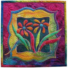 A miniature by Ricky Tims for the Alzheimer's Art Quilt Initiative! This is incredible! Longarm Quilting, Free Motion Quilting, Machine Quilting, Patchwork Quilting, Small Quilts, Mini Quilts, Flower Quilts, Miniature Quilts, Quilting Designs