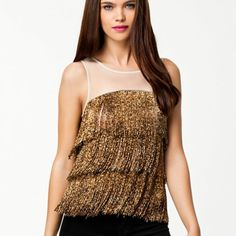 """HPx2River Island Gold Beaded Fringe Top Host pick for Statement Style Party 8/9/15 and Best in Tops Party 1/10! This River Island top with mesh and gold beading """"fringe"""" is sure to liven up any party outfit! Worn once, in great condition, no beads are missing. UK Size 10 which translates to a US Size 8 or Medium. River Island Tops"""