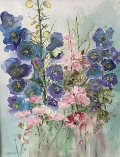 """A mixed media painting of hollyhocks and roses mounted on a double mount with frame size 10 by 12"""" ready for you to drop inside your own glass mounted frame. An original painting by experienced artist Shirley Thompson who has been painting for over 50 years. Shirley is a member of Flower Paintings, Watercolor Paintings, Original Paintings, Hollyhock, Mixed Media Painting, Frame Sizes, Size 10, The Originals, Rose"""
