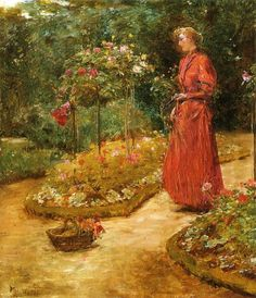 Frederick Childe Hassam - Woman Cutting Roses in a Garden - 1889