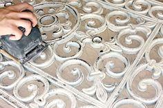 Rubber Door Mat Wall Art {DIY} looks like cast iron, but a lot easier to hang!