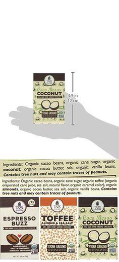 Taza Organic Non-GMO Stone Ground Dark Chocolate Bars 3 Flavor Variety Bundle: (1) Espresso Buzz, (1) Toffee Almond Sea Salt, and (1) Coco Besos Coconut, 2.5Oz. Ea.