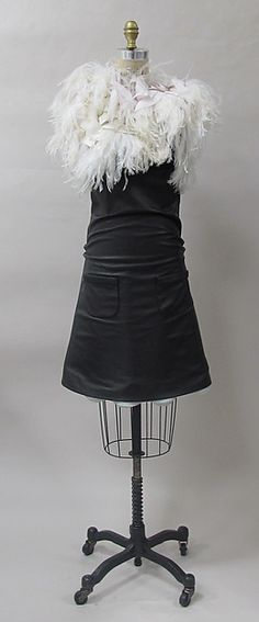 cocktail dress made of leather, silk, cotton, ostrich feathers, metal; two front pockets, Balenciaga 2005