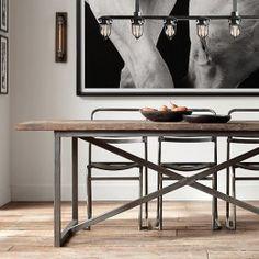 Mesa de Jantar X Metal Industrial