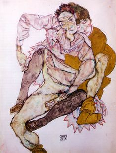 EGON SCHIELE - Seated Couple (Egon and Edith Schiele)  1915  Gouache and pencil on paper  20 5/8 x 16 1/4 in. (52.5 x 41.2 cm)  Graphische Sammlung Albertina, Vienna