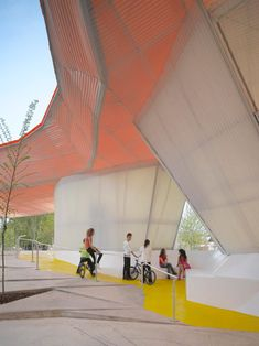 Merida Factory Youth Movement by SelgasCano 09 « Landscape Architecture Platform Colour Architecture, Landscape Architecture, Contemporary Landscape, Modern Contemporary, Outside Playground, Farm Shed, Sun Roof, Inside Outside, Merida