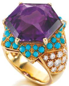 Cartier - Bague 'Etoile' - Améthystes Turquoises et Diamants - Duchesse de Windsor - 1989