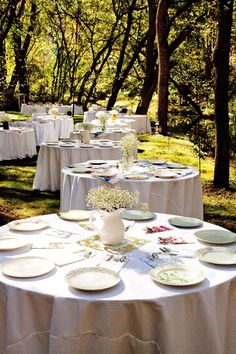 Mix and match china table settings.  Why rent when you can go to garage sales, goodwill, resale shops, and online shop?