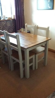 Old corona style dining room table and chairs upcycled for Upcycled dining table