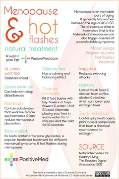 Menopause and Hot Flashes: Natural Treatment- check out this impressive list for treating hot flashes at home!