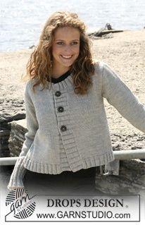 "Knitted DROPS jacket in ""Karisma"" with rib borders. Yarn alternative ""Merino"". Size S - XXXL. ~ DROPS Design."