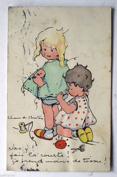 CPA Liliane de Christen couture robe fillettes postcard in Collections, Cartes postales, Thèmes   eBay