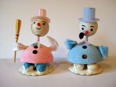 Pair of Vintage Christmas Putz Snowmen!  Blue and Pink; Mint!