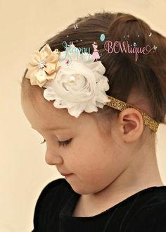 Flower girl headband- Champagne gold headband, baby girls headband, newborn headband, Champagne headband, Rustic headband, New year headband by HappyBOWtique on Etsy https://www.etsy.com/listing/117552327/flower-girl-headband-champagne-gold