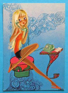 Postcard vintage 70s. Hip mod girl on the telephone.