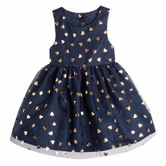 Gorgeous navy and gold girls dress!  The Young Hearts Dress features gold foil heart print pattern with a full skirt and under lining. Perfect for your little princess!  First Birthday | Baby Girl | Party Dress | Tutu Dress | Kids Fashion