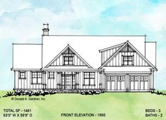 Front elevation of conceptual house plan 1565.